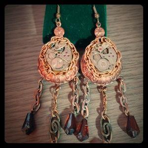 Steampunk clockwork found art boho dangle earrings